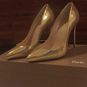Christian Louboutin Gold Pigalle Follies 100